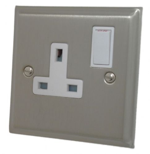 G&H DSN9W Deco Plate Satin Nickel 1 Gang Single 13A Switched Plug Socket